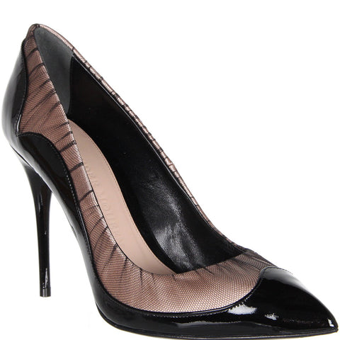 Patent & Tulle Point Pump, Black/Nude