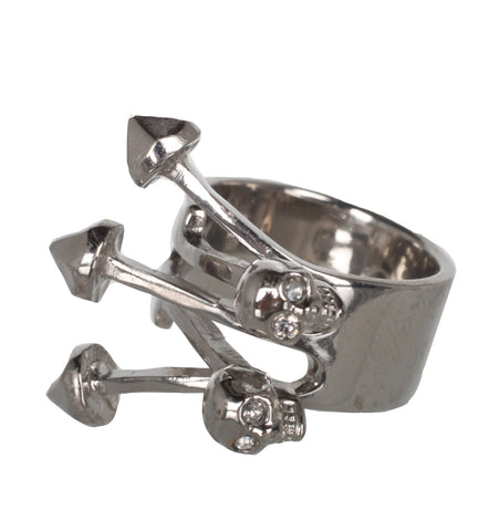 Contrarie Skull Arrow Ring, Silver
