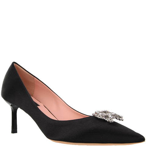 Rochas Pump 60 Satin, Black