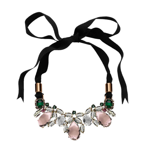Dynasty Teardrop Crystal Ribbon Necklace, Pink