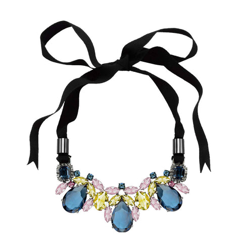 Dynasty Teardrop Crystal Ribbon Necklace, Blue