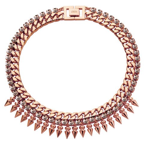 Classic Spike Necklace, Rosegold