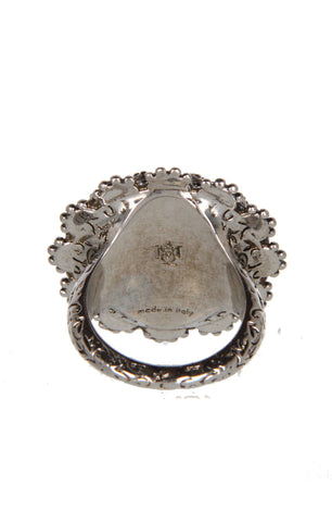 Jewl Round Ring, Antique Silver