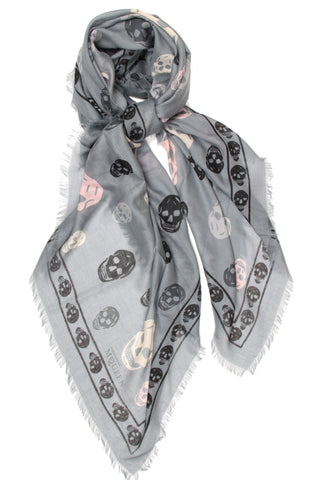 Tri-colour Multi-Skull Pashmina Scarf, Cloud