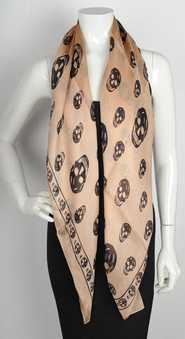 Silk Skull Scarf, Rose/Black
