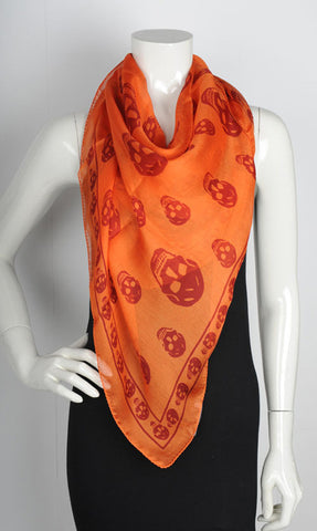 Classic Skull Scarf Silk Chiffon, Orange/Red