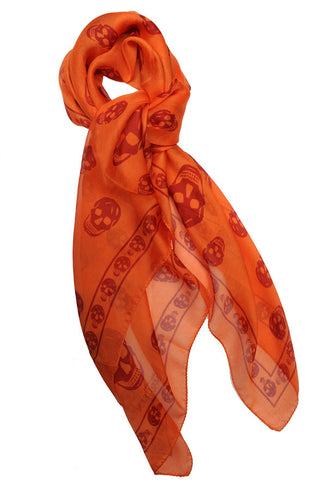 Silk Skull Scarf, Orange/Red