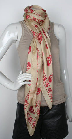 Silk Skull Scarf, Sand/Red