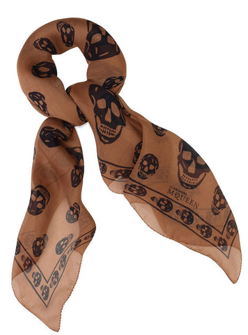 Silk Skull Scarf, Brown/Blue