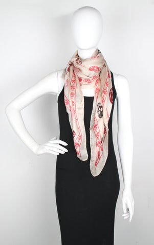 Tri-colour Silk Skull, Cream/Red/Burgundy