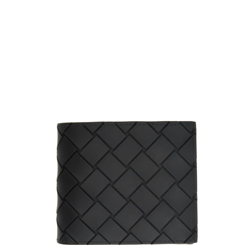 Bi-Fold Wallet with Coin Compartment Rubber Intrecciato, Black
