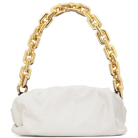 Chain Pouch Smooth, Chalk/Gold