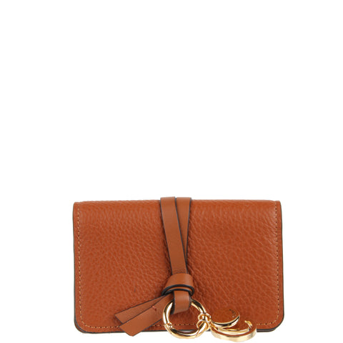 Alphabet Flap Card Wallet, Tan
