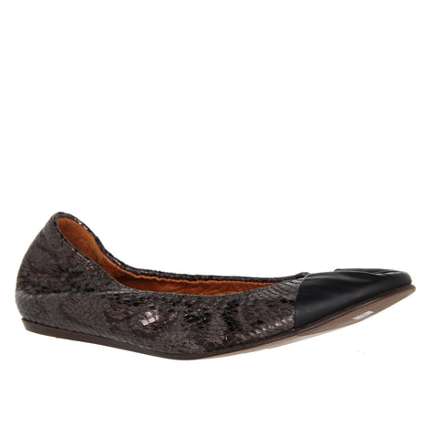 Ballet Flat, Snake Effect in Calf leather (instore)