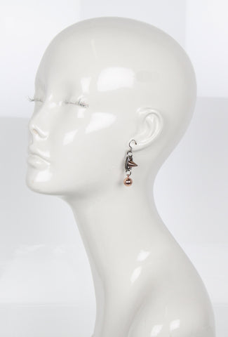 Spike & Sphere Earrings, Ruthenium/Rosegold/Brown