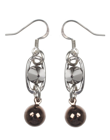 Spike & Sphere Earrings, Rhodium/Brown/Ruthenium