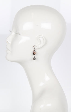 Spike & Sphere Earrings, Brown/Ruthenium/Rosegold