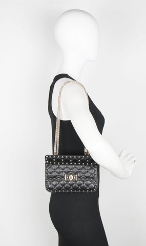 Spike Small Shoulder Bag, Black