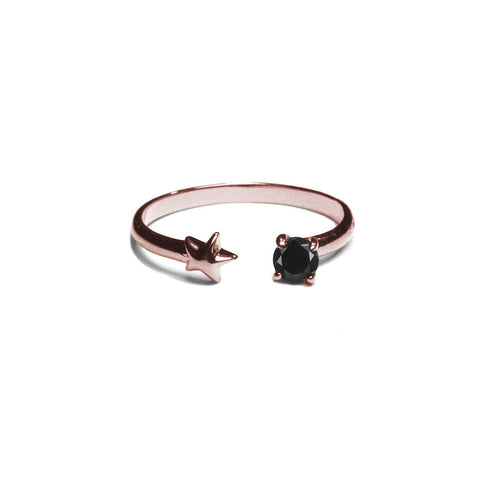 Star Age Ring Rose Gold, Black Spinel