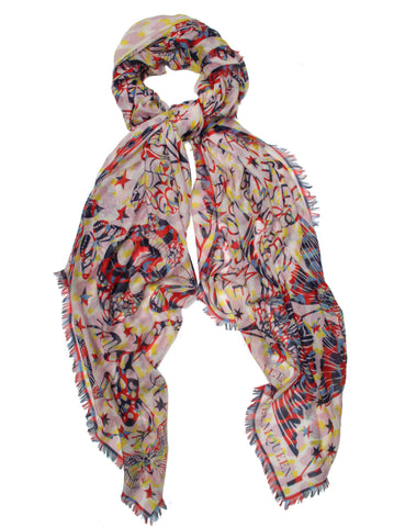 Swallow Dream Scarf Pashmina, Rose/Red