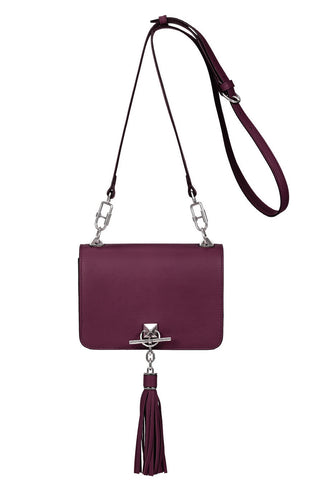 Le Pompon Medium Tassel Flap Bi-Colour Bag, Violet/Havana