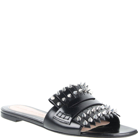 Studded Loafer Slide, Black/Silver