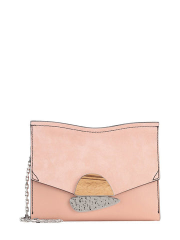 PS Small Curl Chain Clutch Grain/Suede, Blush