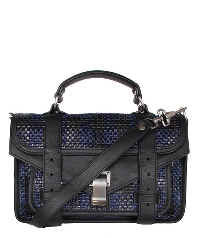 PS1 Tiny Woven Leather Raffia, Black/Blue