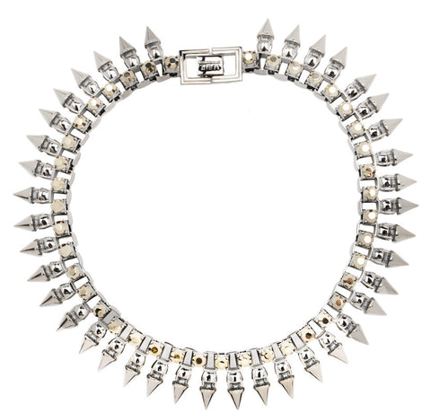 Neo Crystal Sun Ray Tube Necklace, Rhodium