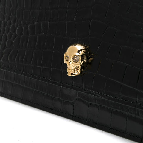 Skull Medium Bag Croc, Black/Gold