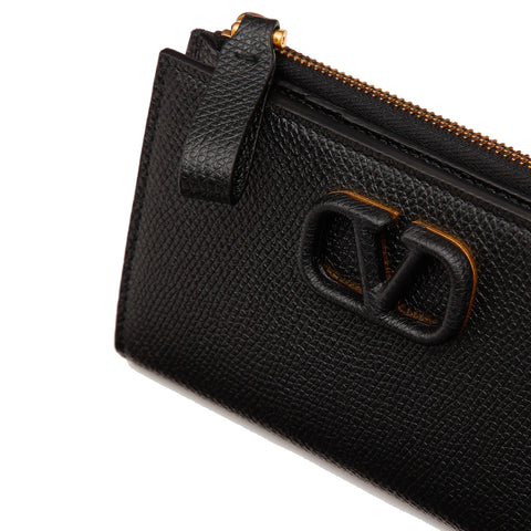 Fold Card Holder Zip Coin, Black/Gold