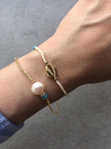 Wave Chaser Conch Bracelet, Cream