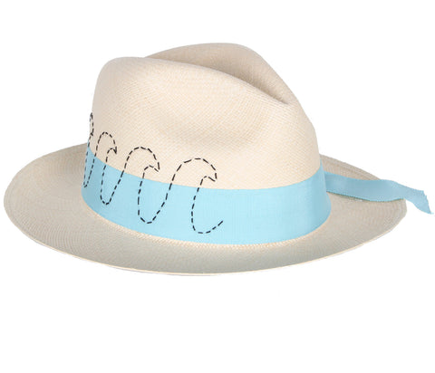 Panama Hat with Waves Band