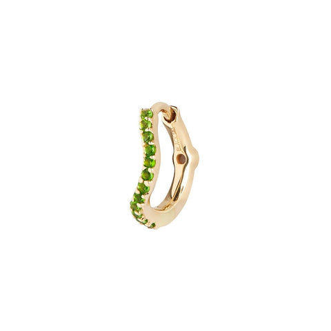 Green Wave Huggie, 14k Yellow Gold