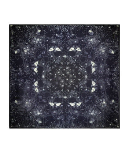 Web of Wishes Chiffon Silk Scarf, Black/Grey