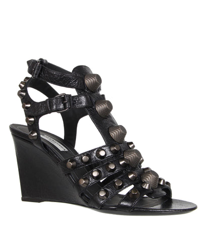Studded Gladiator Wedge 80, G12-GM Black