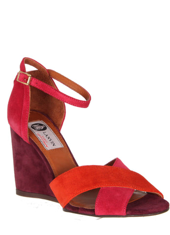 Wedge Colour Block Suede, Pink/Coral