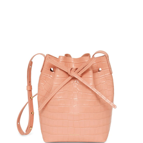 Bucket Bag Mini Croc Embossed, Coral