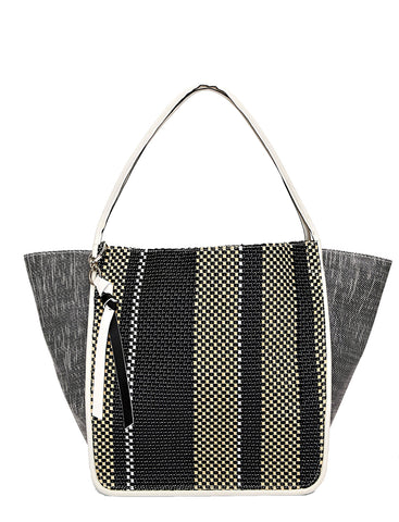 PS Slouch Tote XL Woven, Black/Ecru