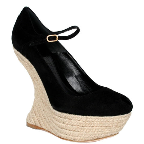 Armadillo Curved Espadrille Wedge, Black