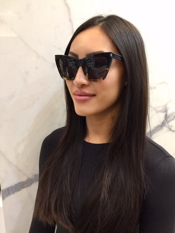 YSL SL214 Kate Sunglasses, Black/Yellow