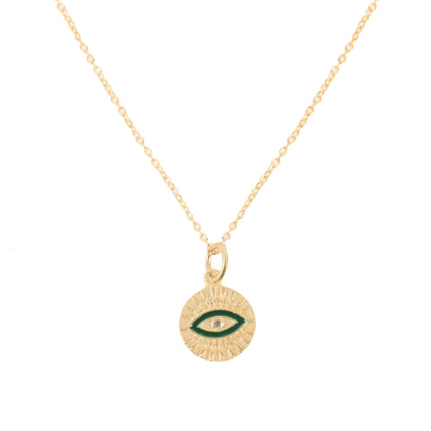 All Seeing All Eye Necklace, Gold/Green