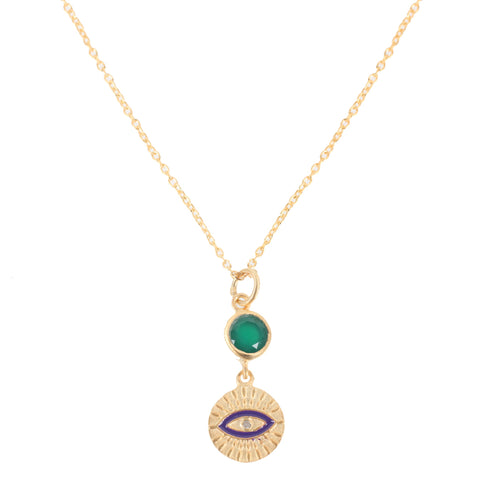All Seeing Green Eye Necklace, Gold/Blue