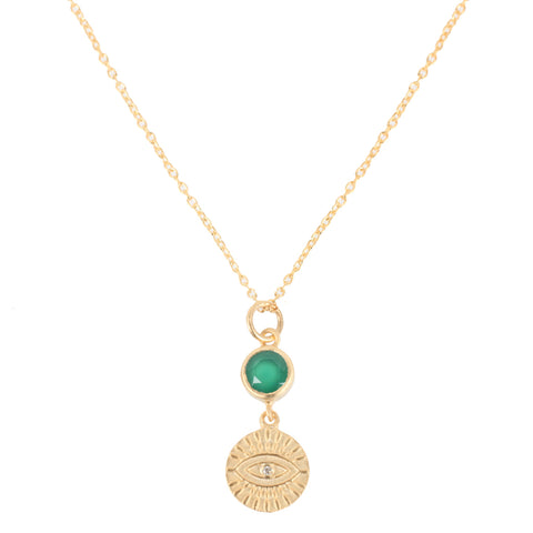 All Seeing Green Eye Necklace, Gold