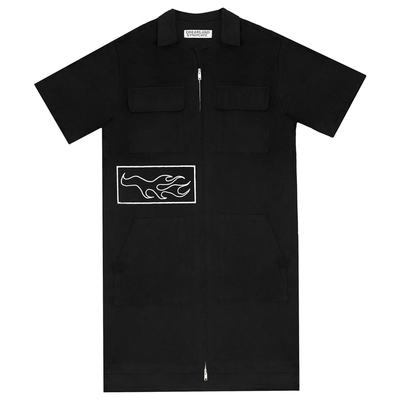 Zerowork Dress with Patches Black