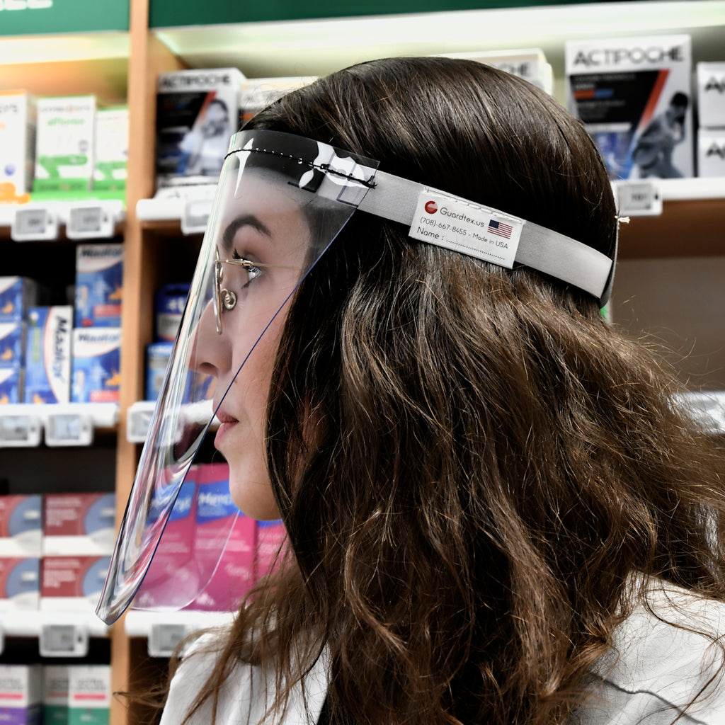 Guardface Flexible Face Shield used by a Pharmacist - a GUARDTEX Inc product