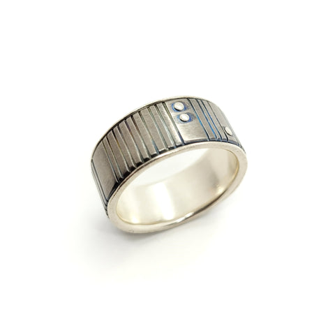 Titanium Band with Sterling Silver Liner and Rivets by Taviametal at Bezel & Kiln
