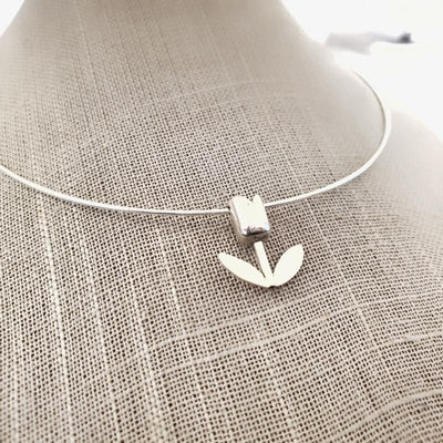 Pendant - Small Tulip Bloom Shiny Sterling Silver by La Objeteria