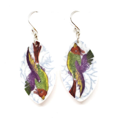 Earrings - Short Color Birds Vintage China by Material+Movement