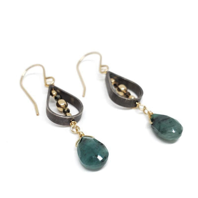Earrings - Pyrite Emerald Pear Oxidized Sterling Teardrop by Calliope Jewelry